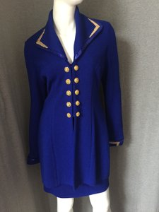 St. John ST. JOHN Blue & Gold Skirt Suit
