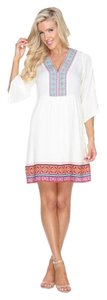 White Mark short dress White Embroidered Bohemian Boho Mini Holiday on Tradesy