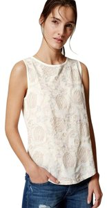 Ann Taylor LOFT Shell Embroidery Top Cream
