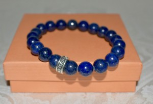 King Baby King Baby Men's Blue Lapis 10mm Beads Bracelet Sterling Trademark BAND