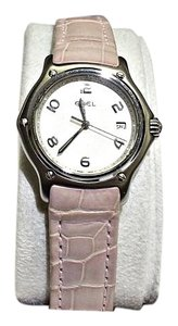 Ebel Ladies Stainless Steel Watch, Pink Leather Strap with White Dial