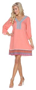 White Mark short dress Coral Embroidered Bohemian Boho on Tradesy