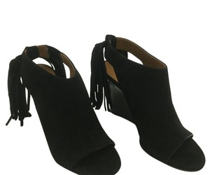 Chloé Fringe Suede Peep Toe Wedge Black Boots