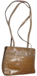 Fendi Style Satchel in dark yellow small F logo print canvas & brown textured leather