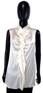Gold Hawk Zip Up Sleeveless Silk Top Ivory