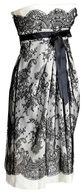 Item - Black and Gray Lace Overlay Empire Sleeveless Short Cocktail Dress Size 0 (XS)