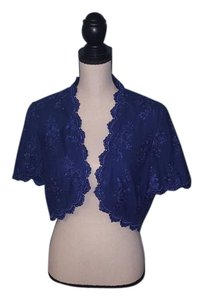 Alex Evenings Shrug Bolero Embroidered Blurple Evening Top