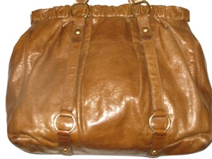 Miu Miu Leather Gym Satchel Oversized Beach Tote in Honey Brown