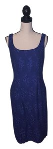 Alex Evenings Embroidered Blurple Formal Maxi Evening Dress