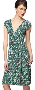 Diane von Furstenberg short dress Brown, Aqua, Ivory Wrap Knee-length on Tradesy