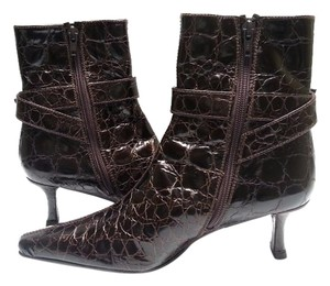 Stuart Weitzman Embossed Croc Patent Leather Ankle Adjustable Buckle Full Zip Brown Boots
