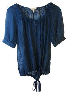 Joie Button Up Tie Top Blue