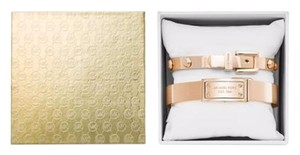 Michael Kors Michael Kors Rose Gold-Tone Logo Bangle Bracelet Boxed Set
