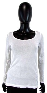 BCBGeneration Long Sleeve Scoop Neck Knit Cotton T Shirt White