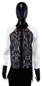 Robert Rodriguez Lace High Low Shirt Long Sleeve Button Down Shirt White