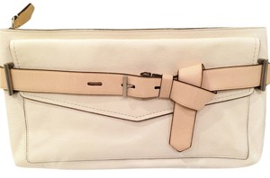 Reed Krakoff Leather Never Used Ivory with Tan Strap Clutch