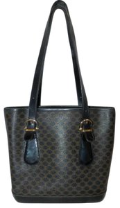 Céline Leather Handbag Macadam Logo Satchel in Black