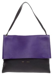 Cline Celine Leather Tote in Purple and Black