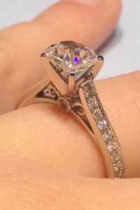 Vintage-inspired Platinum Engagement Ring Setting Semi Mount- Size 4 - Diamond Not Included