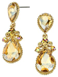 Topaz Gold Crystal Droplet Dangle Earring