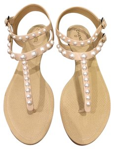Chanel Pearl Chain Gladiator Espadrille Classic beige Sandals