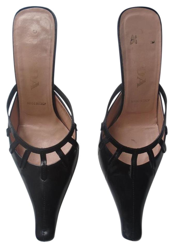 005831cd429 Prada Vintage Leather Work Casual Classic Same Day Shipping black Mules  Image 0 ...
