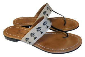 Tommy Bahama Palm Tree Print Flip Flops Leather Sole Made In Italy tan and navy Sandals