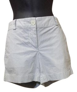 J.Crew City Fit Striped Mini/Short Shorts white and gray