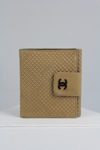 Chanel Cocomark Beige Leather Bifold Snap Wallet Italy