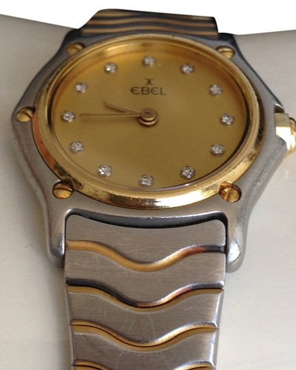 Ebel EBEL Classic Iconic 18K Gold Bezel with Diamonds **2-tone Wave 24K gold trim and stainless steel band