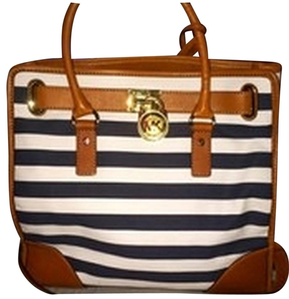 Michael Kors Stripe Hamilton Handbag Tote Satchel Purse Gold Shoulder Bag