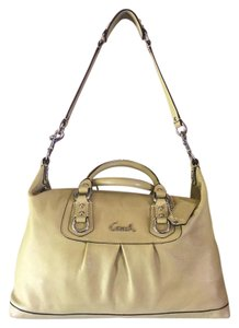 Coach Leather Silver Hardware Satin Satchel in Green