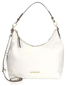 eff6c6f14169 Michael Kors Isabella Large Convertible Optic White Leather Hobo Bag ...