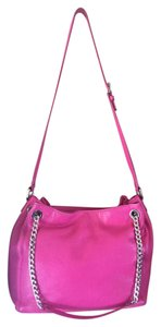 Michael Kors Pebbled Leather Hobo Silver Hardware Tote in Pink