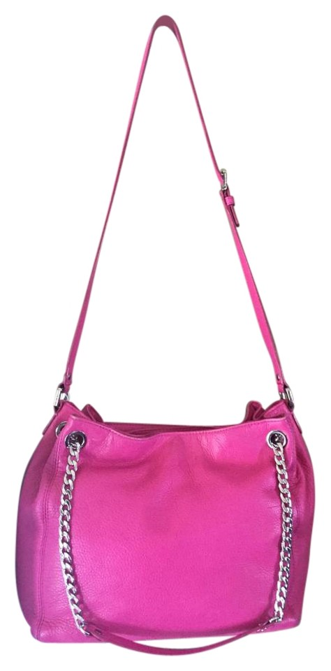 ff9d16bd90b0 Michael Kors Jet Set Chain Medium Shoulder In Zinnia Pink Leather Tote