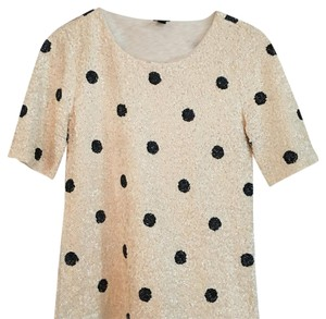 J.Crew Top Ivory with black polka dots