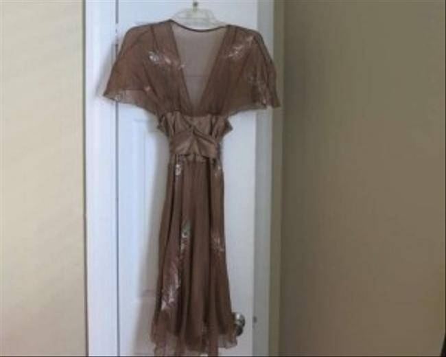 Development Caf Mocha Wedding Guest Summer Spring Feather Chiffon Silk Cafe Glitter Peacock Dress