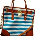 Michael Kors Hamilton Handbag Striped Stripe Women's Satchel in light blue