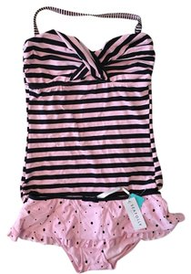 SeaFolly Retro Mixed Print Bandeau Tankini with Skirted Bottoms