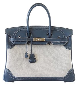 Herms Hermes Birkin 35 Ghillies Tote in Blue and Toile