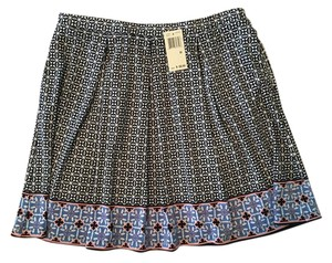 Max Studio Tile Print Casual Nwt Elastic Waist Mini Skirt Navy Blue