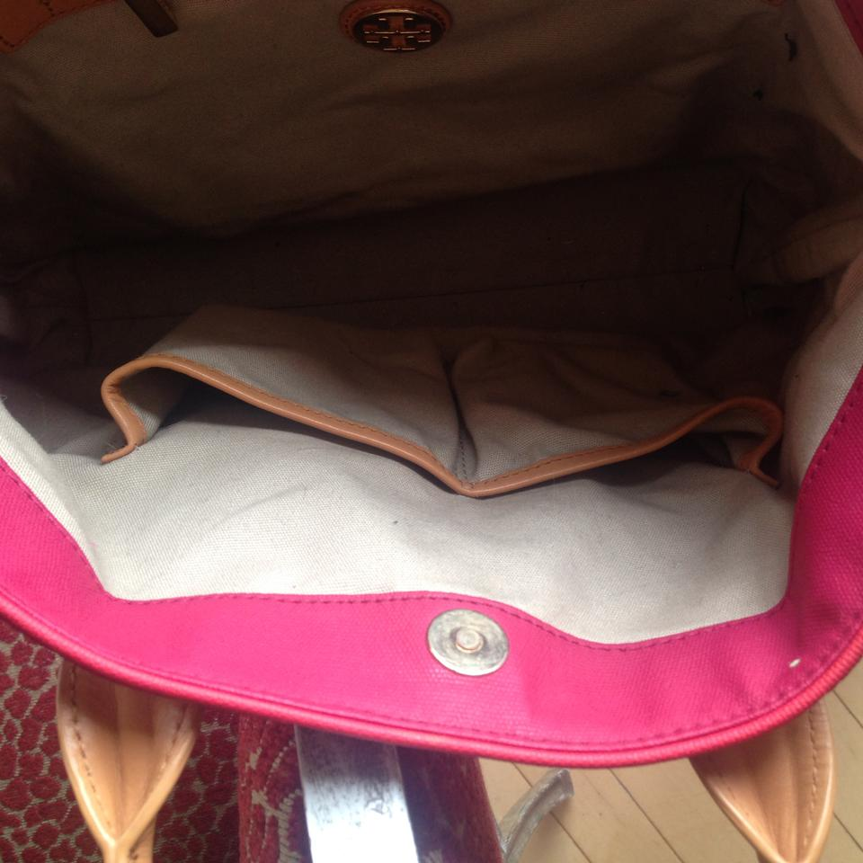 066c7c6a973 Tory Burch Leather Canvas Tote in Two tone red Image 10. 1234567891011