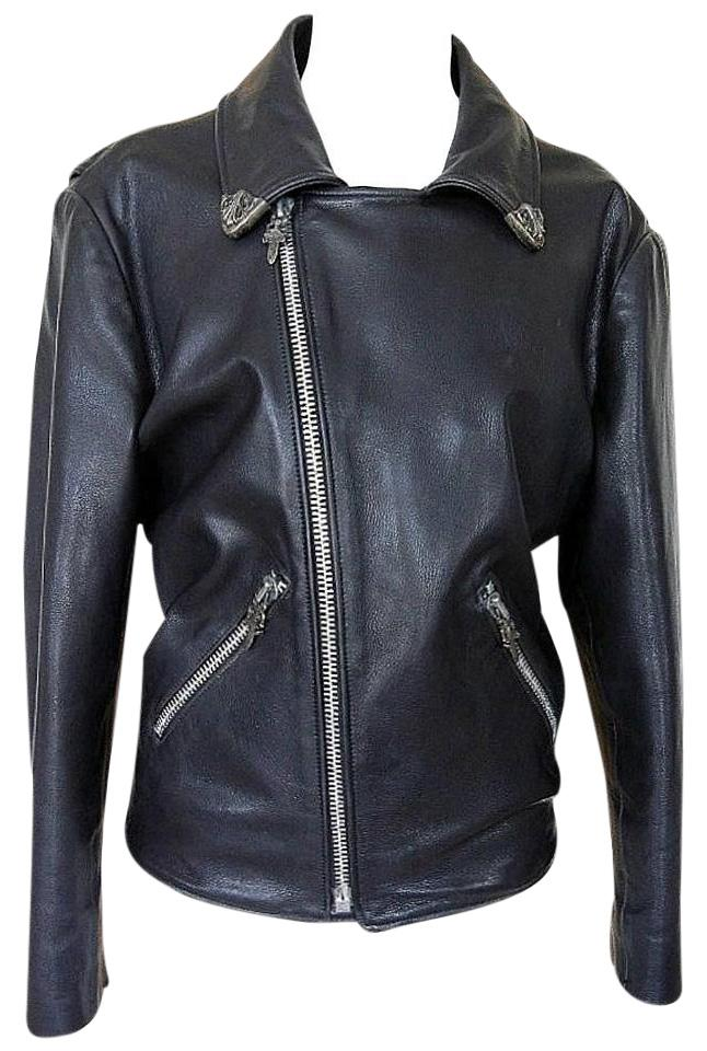 97a3862b3f89 Chrome Hearts Leather Sterling Silver Vintage Motorcycle Jacket Image 0 ...