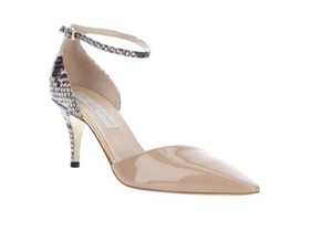 Stella McCartney Ankle Strap Snakeskin Pointed Toe Heels Nude Nude, Snakeskin Pumps