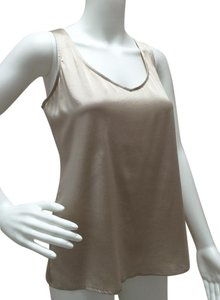 Eileen Fisher Stretchy Silk Charmeuse Sleeveless Tank Top champagne
