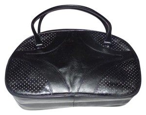 Prada Chrome Hardware Bowling Style Signature Piece Excellent Vintage Satchel in black leather with perforated areas