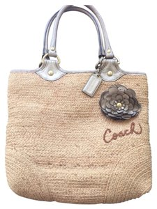 Coach Tote in Beige With Gold Leather Trim