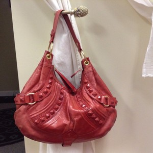 Isabella Fiore Leather Studded Vintage Hobo Bag