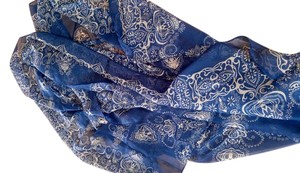 New Navy & Black Chiffon Scarf Long Slightly Sheer P2196