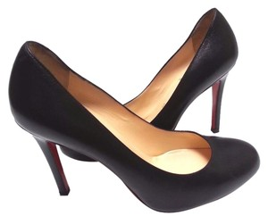Christian Louboutin Round Toe Leather Black Pumps